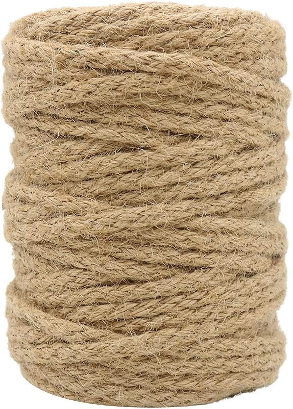 Tenn Well 5mm Jute Twine, 100 Feet Braided Natural Jute Rope for Artworks and Crafts, Macrame Projects, Gardening Applications