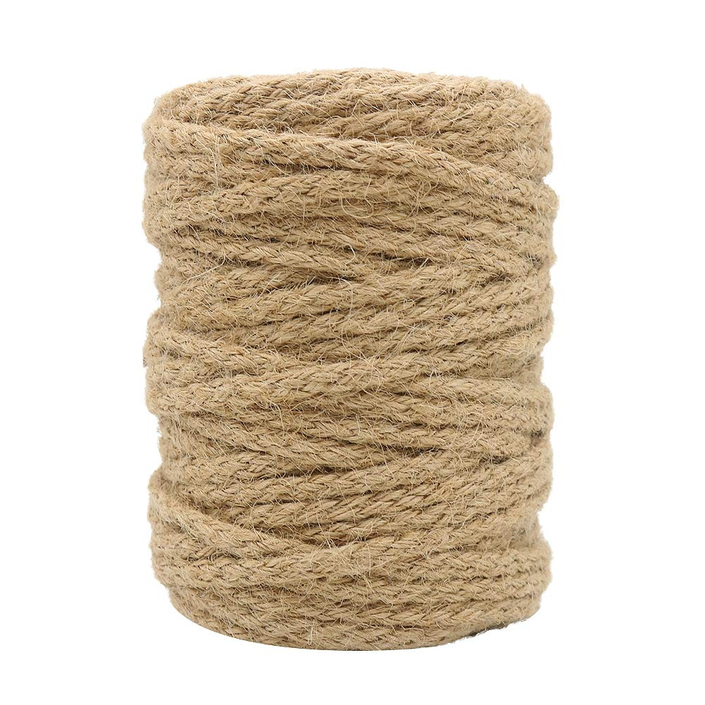 Tenn Well 5mm Jute Twine, 100 Feet Braided Natural Jute Rope for Artworks and Crafts, Macrame Projects, Gardening Applications by Tenn Well