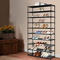 Artiss 10-Tier 50 Pairs Stackable Shoe Rack Shelves Metal Fabric Shoe Storage Holder, Black
