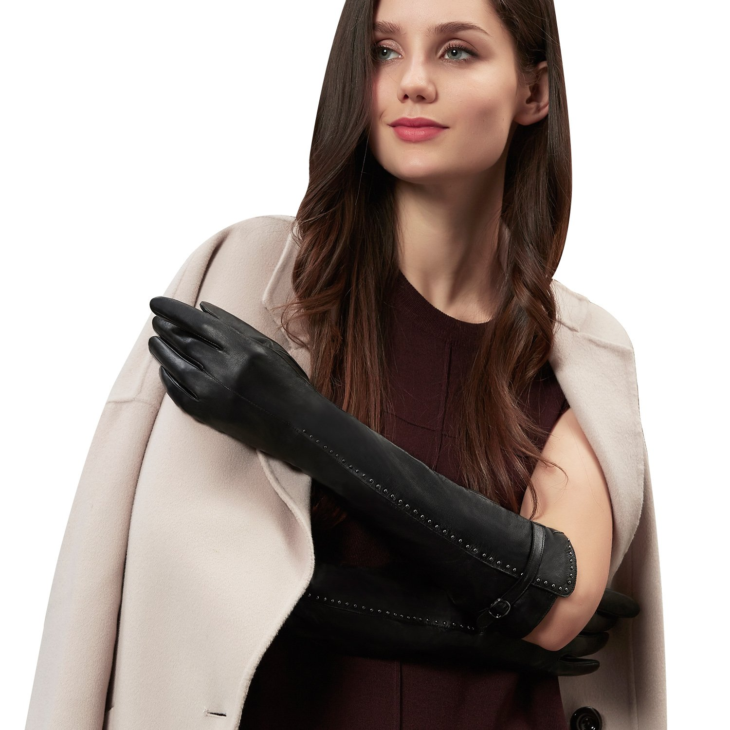 GSG Womens Stylish Studs Decor Elbow Gloves Genuine Leather Arm Warmer Gloves Ladies Evening Party Dress Gloves Nice Gifts Black 7