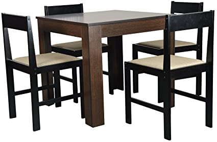 Forzza Peter Four Seater Square Dining Table Set (Wenge): Amazon.in ...