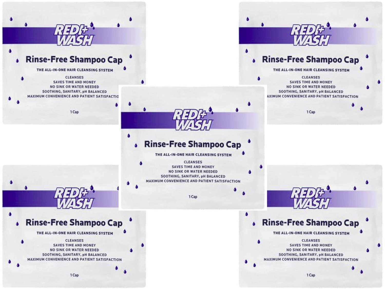 (Pack of 5) No Rinse Shampoo Caps - Redi+Wash Rinse-Free Shampoo Cap by DawnMist Redi+Wash