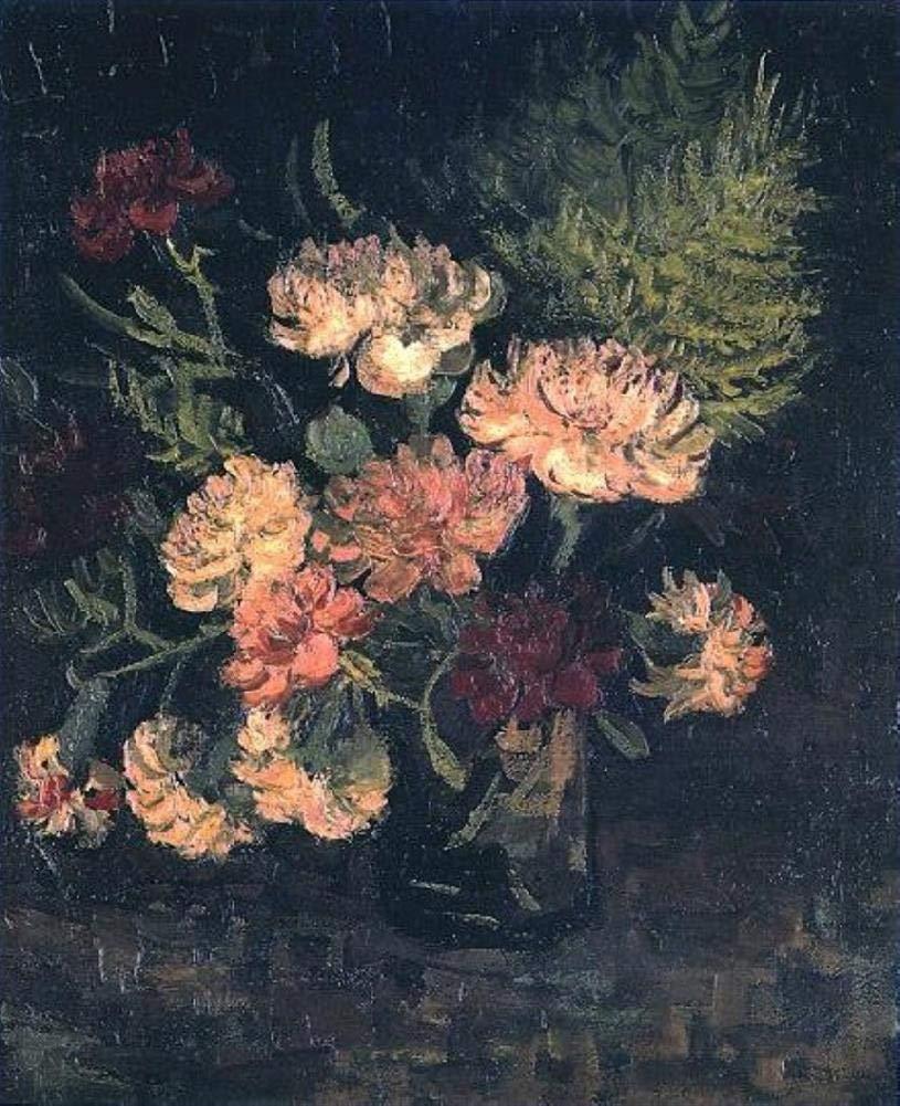 手描き-キャンバスの油絵 - Vase with Carnations 1 フィンセントファンゴッホ 芸術 作品 洋画 ウォールアートデコレーション VVG2 -サイズ17 B07H7M9K8D  68 x 102 インチ