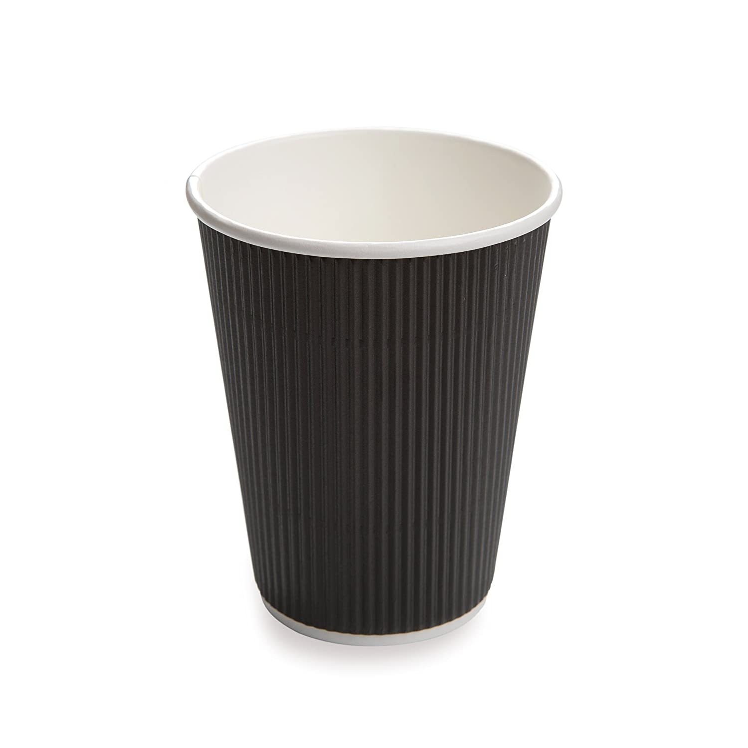 25-CT Disposable Black 4-OZ Hot Beverage Cups with Ripple Wall Design: No Need for Sleeves – Perfect for Cafes or Home Use – Eco-Friendly Recyclable Paper – Insulated – Wholesale Takeout Coffee Cup Restaurantware RWA0277B-25