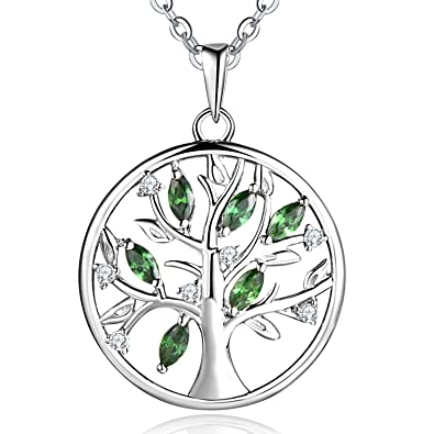 Tree Of Life Necklace 925 Sterling Silver Cubic Zirconia Yggdrasil Pendant Necklace For Women 18Inch NAD7O