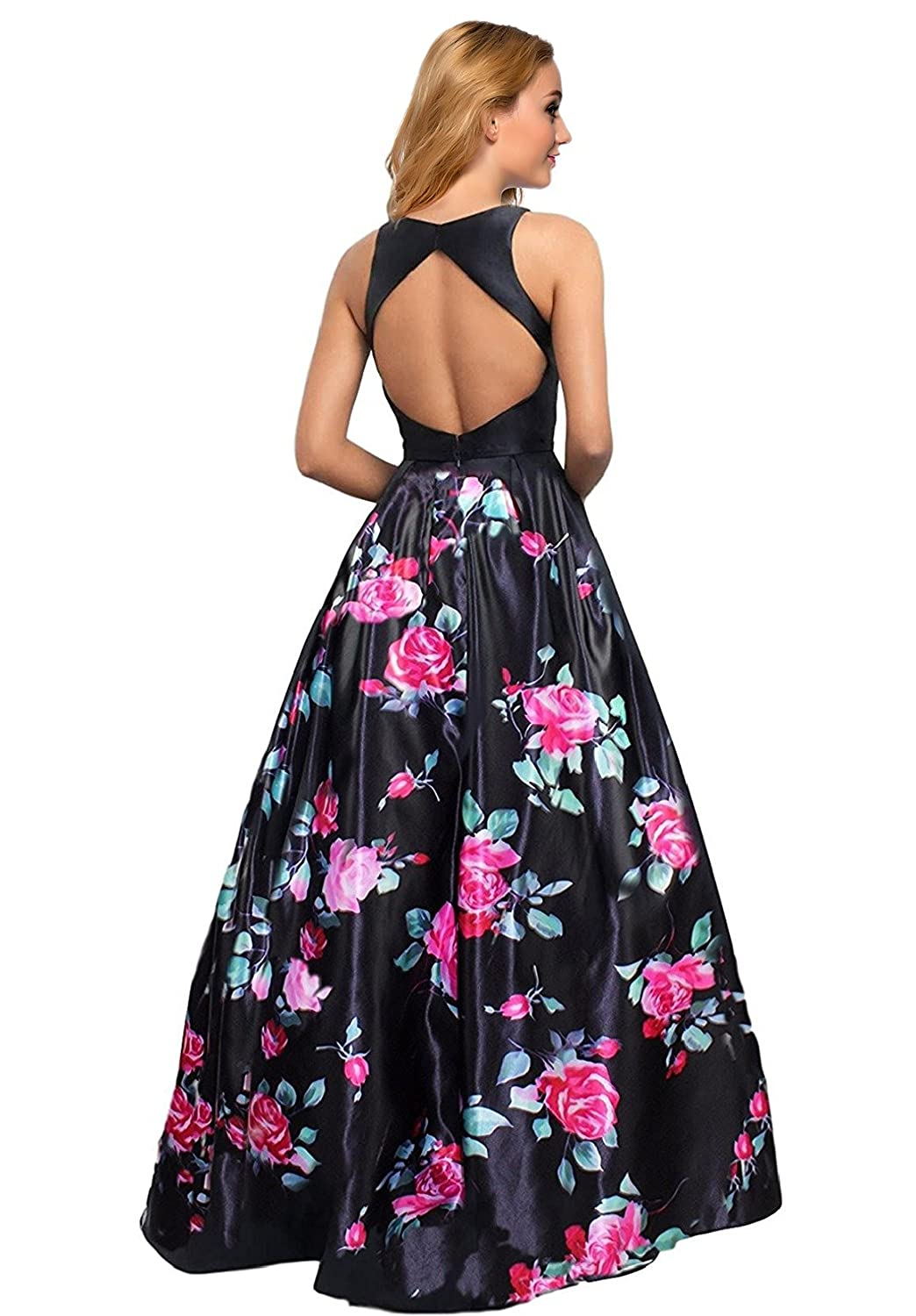 7e6ed01ccf8 Lily Wedding Womens Long Floral Satin Prom Dress 2019 Sleeveless Aline  Evening Formal Ball Gown Open Back at Amazon Women s Clothing store