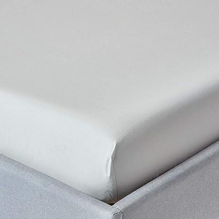 HOMESCAPES Sábana Bajera Ajustable 100% algodón Egipcio 200 Hilos Profundidad 46 cm Especial colchon Grueso Color Gris 90 x 190 cm: Amazon.es: Hogar