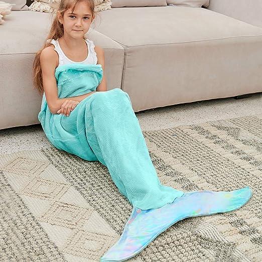 Mermaid Tail Blanket Soft Fleece Warm Kids Blanket Medium Size Polyester Blanket