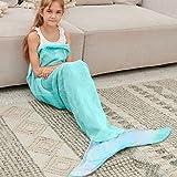 Bonzy Home Kids Mermaid Tail Blanket for Girls, Plush Soft Flannel Fleece All Seasons Sleeping Blanket Bag for Children…