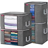 JOYXEON Clothes Storage Bags Closet Organizer Pack of 4 Large Capacity Closet Storage Bags 3 Layers Fabric Stainless Steel Zi
