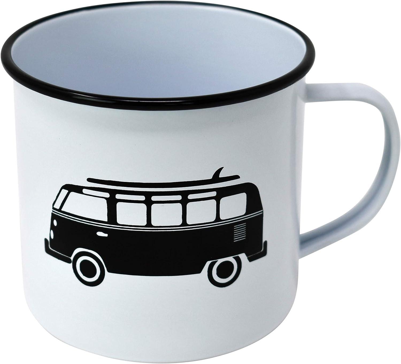 Camping, Campervan, Caravan 3 Designs in Black /& White PLS Retro Metal Mug