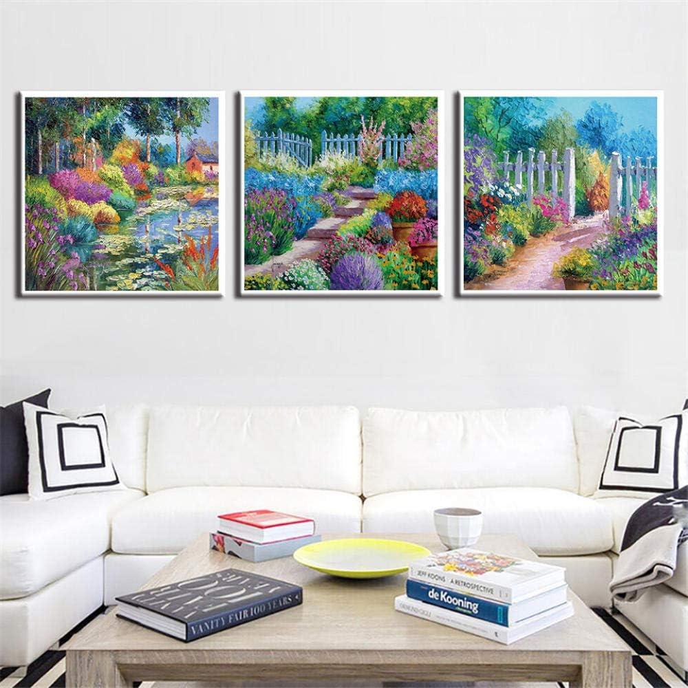 Cuadro sobre Lienzo Jardín colorido 3 piezas Impresión de la lona Cuadro en lienzo Moderna arte pared Carteles Decoracion Fotografía Cuadros pared arte de lona (Sin marco)