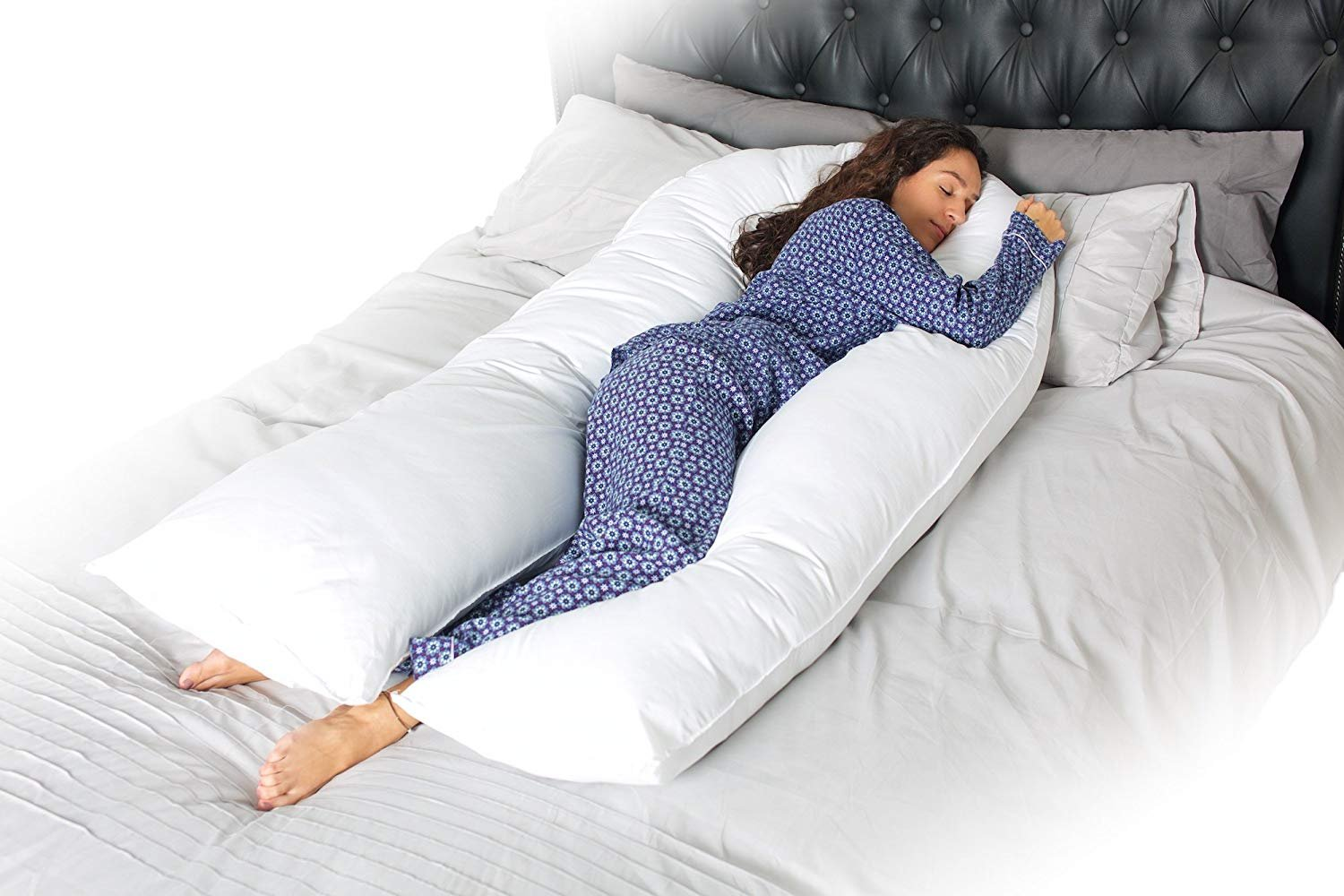 Full Body U Shaped Pregnancy Pillow & Maternity Pillow with Replaceable and Washable Cover (White) Civigrape
