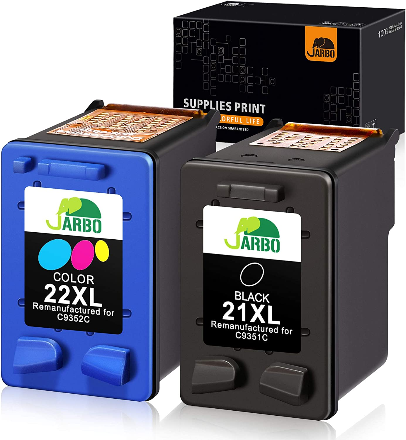 JARBO Manufactured Ink Cartridge for HP 21 22 21XL 22XL, 1 Black+1 Tri-Color, Used with HP Officejet 4315 J3680 Deskjet 3915 3930 3940 D1341 D1420 D1455 D1520 D1530 D1560 D2330 D2430 D2460 PSC 1410