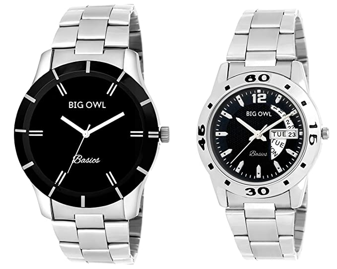 Bigowl Wrist Watch Couple Combo for Men and Women