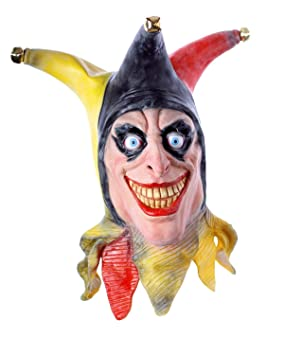 COM Halloween máscara de látex. La Harlekin Horror Payaso para Hombre y Mujer