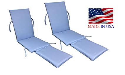 Made In USA Steamer Chair Cushion Sunbrella Canvas Air Blue #5410 (2 PACK