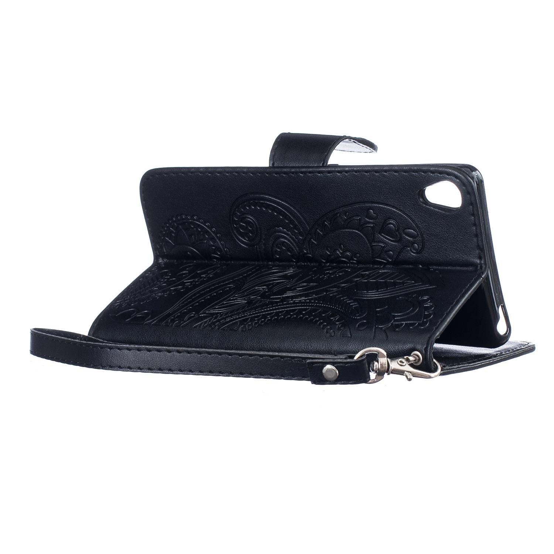 pinlu /Étui pour Huawei P9 Lite Haute Qualit/é Ultra-Mince Etui avec Slot Pochette Portable Flip Wallet Housse Similicuir Portefeuille Paon Fleurs Blanc 5.2pouce