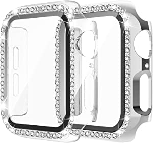 Apple Watch Case with Tempered Glass Screen Protector for iWatch 38mm Series 3/2/1 [2 Pack] Bling Crystal Diamond Rhinestone Bumper Full Cover Protective Case for Women Girls
