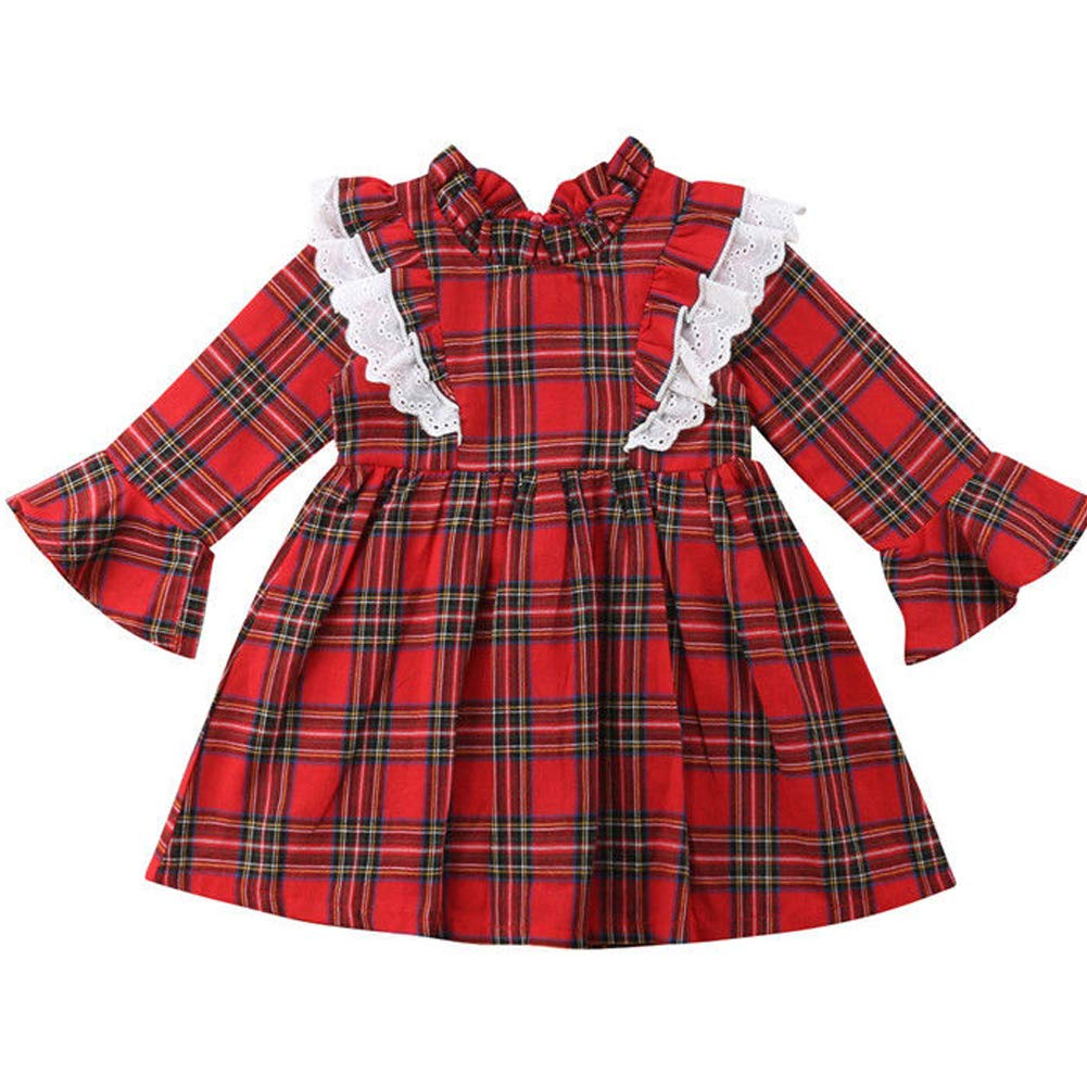 Family Sister Christmas Matching Outfit Baby Girls Long Sleeve Red Plaid Dress Romper