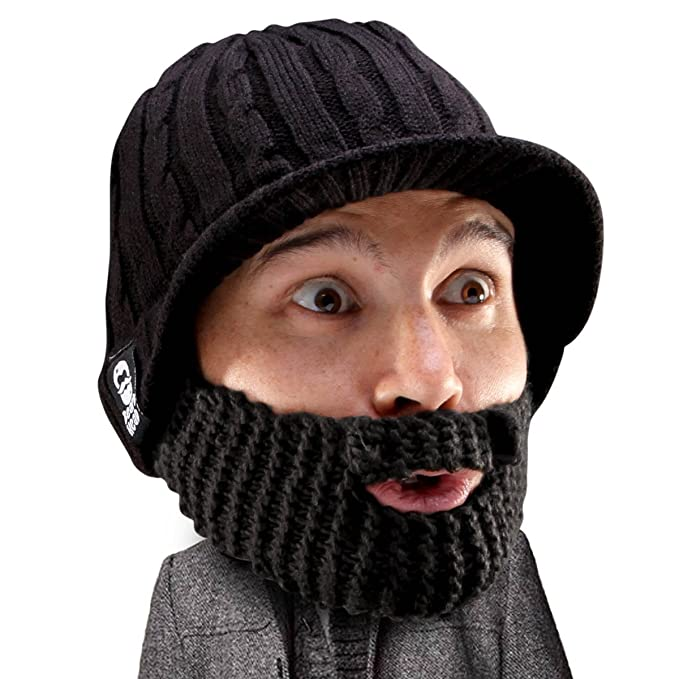 Beard Head Stubble Rider Beard Beanie - Funny Knit Hat and Fake Beard  Facemask Black f8997045938