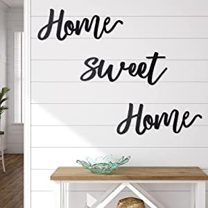 Jetec Home Sweet Home Wooden Sign Rustic Home Decor Sign Wooden Home Sign Wall Hanging Decor Home Sweet Home 3D Wall Art Sign Wood Home Decor for Home Living Room Bedroom Kitchen