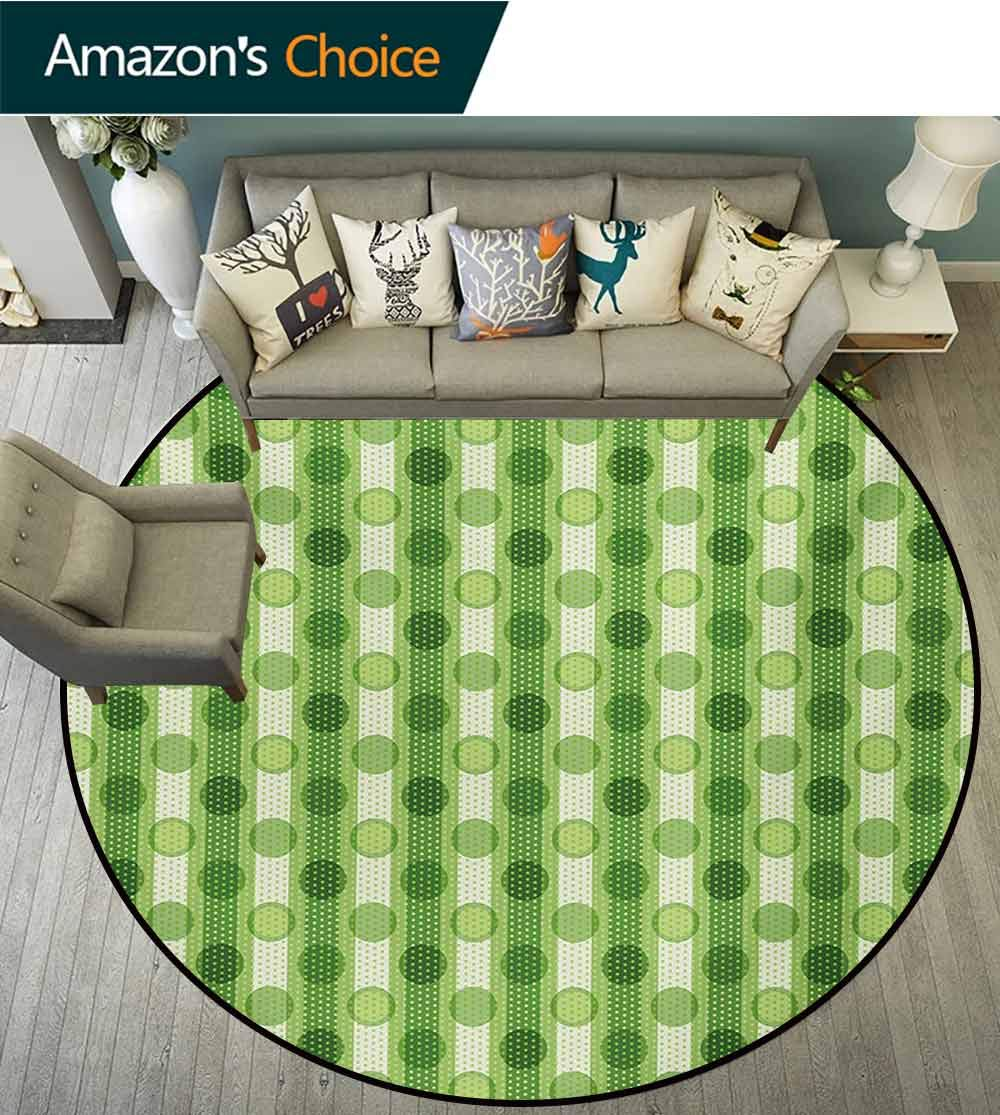 RUGSMAT Polka Dots Anti-Skid Area Rug,Vintage Featured Striped Pattern with Polka Dots Regular Circles Retro Theme Artprint Green Soft Area Rugs,Diameter-55 Inch Green