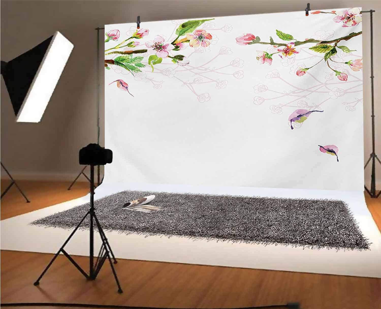 Watercolor 8x6 FT Vinyl Photo Backdrops,Apple Tree Blooming in Spring Season Branches Falling Leaves Romantic Background for Selfie Birthday Party Pictures Photo Booth Shoot