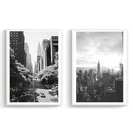 Flanacom Design Poster 2er Set A3 Schwarz Weiß Hochwertiger Kunstdruck Auf Hochglanz Premiumpapier Bilder Skandinavisch Moderne Deko Wohnung