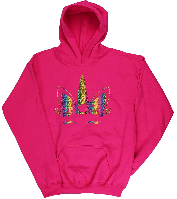 Hippowarehouse Rainbow Flower Unicorn Kids Childrens Unisex Hoodie Hooded top
