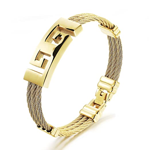Amazon Mens Stainless Steel Greek Key Symbol Twisted Cable
