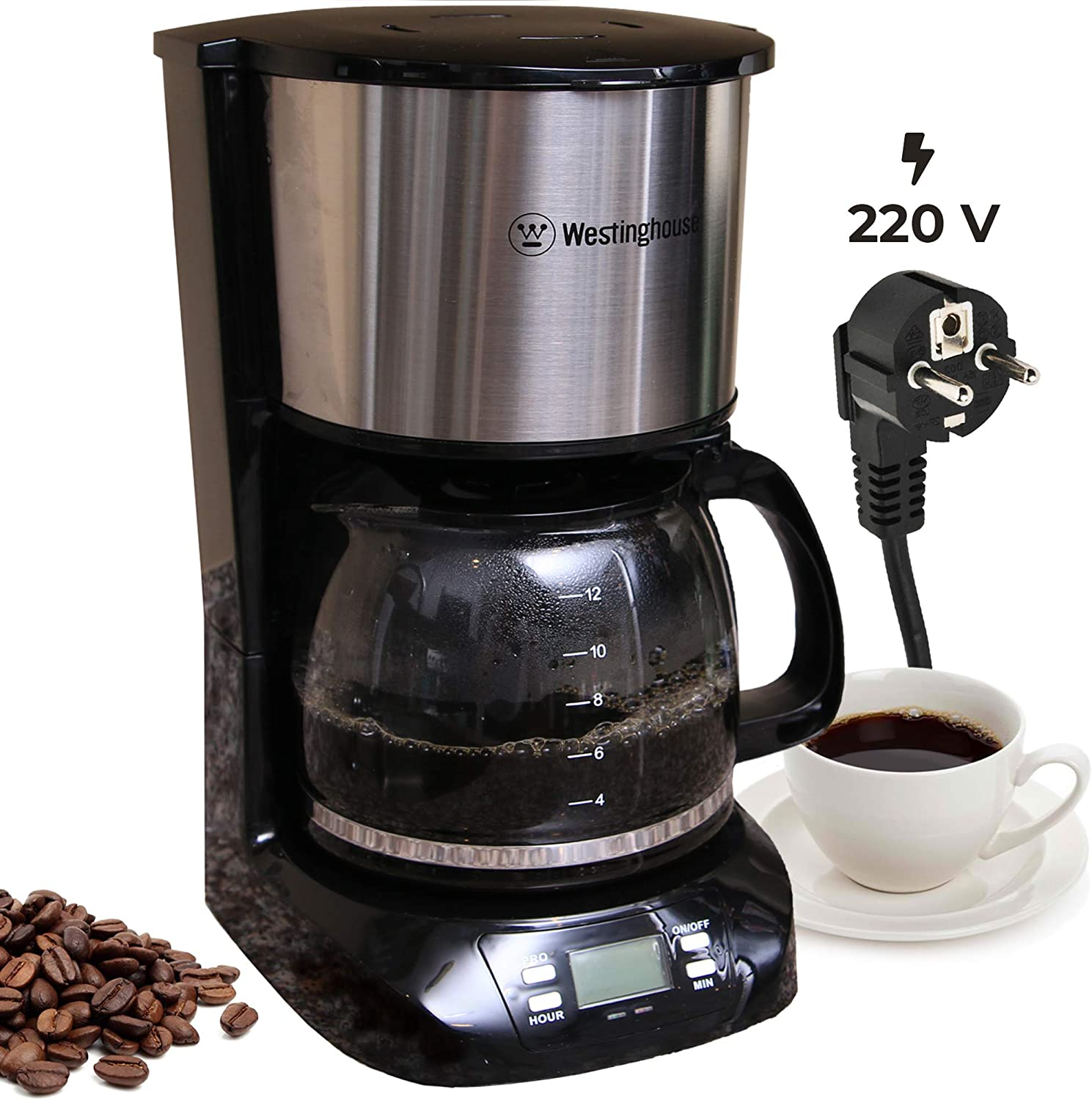 Westinghouse 220 volts coffee maker 220v 240 volt Digital Programmable Coffee Machine Permanent Filter Hot Plate NOT FOR USE IN USA