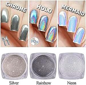 3 Bottle Nail Glitter Dust Unicorn Neon Silver Sparkly Chrome Pigment Nail Art Sequins