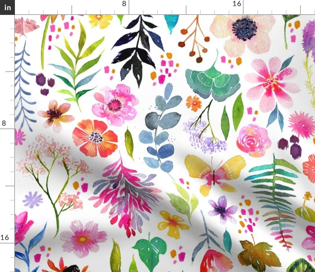 Spoonflower Fabric - Watercolor Garden Pink Green Floral on White Printed on Minky Fabric by The Yard - Sewing Baby Blankets Quilt Backing Plush Toys