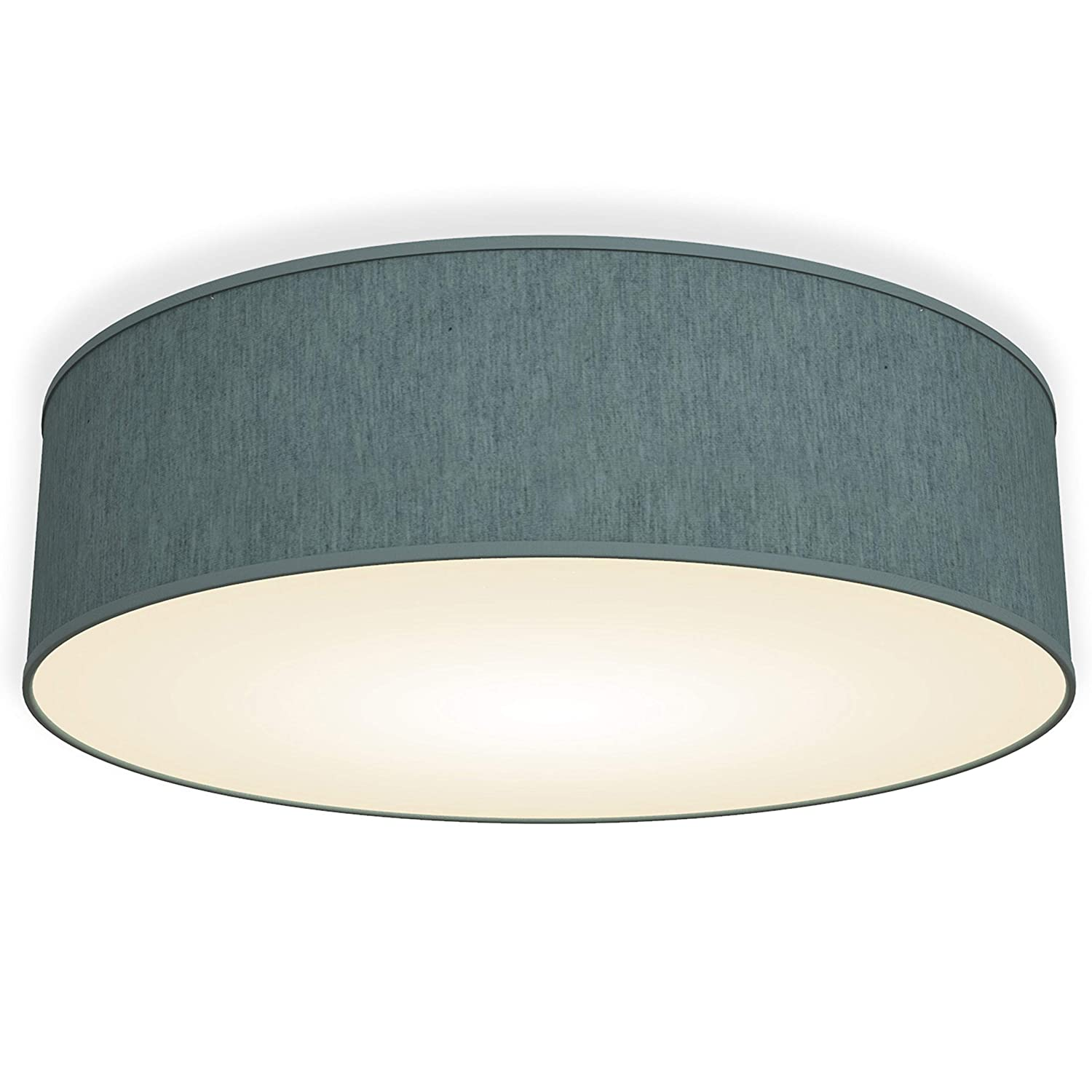 LED Fabric Ceiling lamp I Fabric Shade I Living Room I Children's Room I Teal-Grey I Round Bedroom Light I Easy to Install I E14 Light Bulb (not incl.) B.K.Licht BKL1101