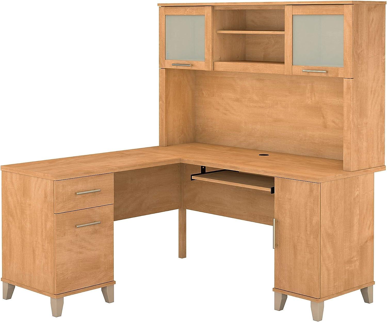 Bush Furniture Somerset 60W L Shaped Desk with Hutch in Maple Cross