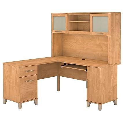 Bush L Shaped Desk With Hutch Seiko Desk Clocks