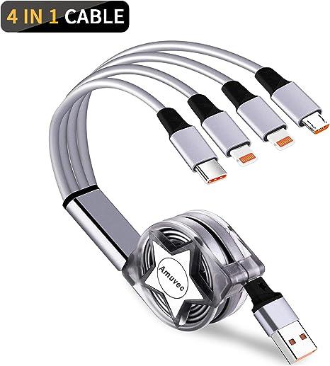 Amuvec Cable Multi USB, 1.2M 4 en 1 Chargeur Multiple