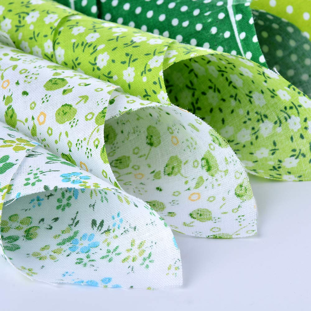 Souarts Textile Tissu Coton Motif Petit Fleur pour DIY Patchwork Artisanat Couture Vert 25cmx25cm 7PCS