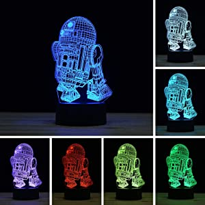 3D Illusion LED Night Light,7 Colors Gradual Changing Touch Switch USB Table Lamp for Holiday Gifts or Home Decorations (R2-D2)