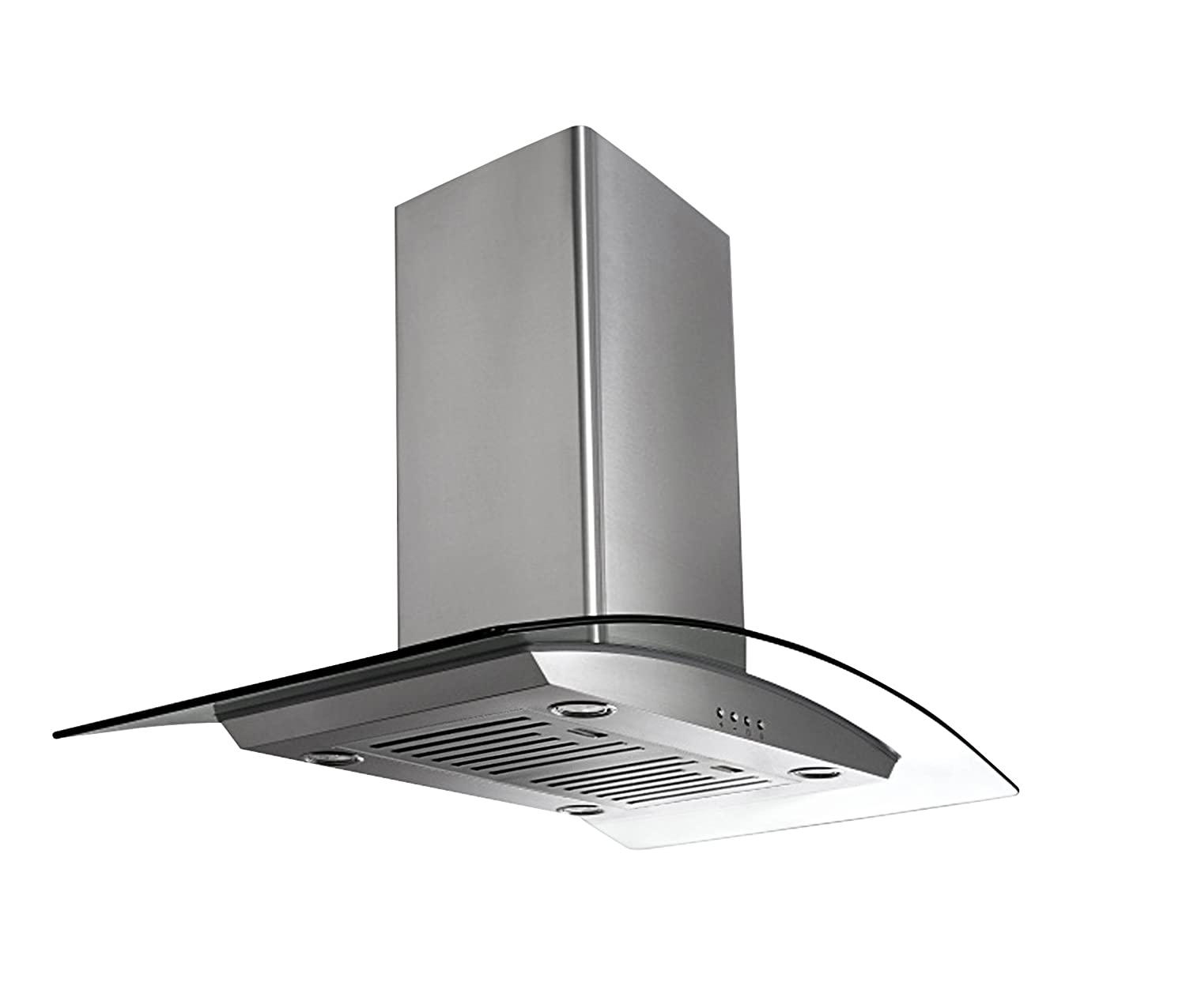 Ancona IGCP430 Island-Mounted Glass Canopy Style Convertible Range Hood, 30-Inch, Stainless Steel AMS Inc AN-1460