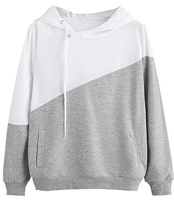 7b6a087cd Amazon.com  ROMWE Women s Loose Casual Long Sleeve Sweatshirt Hooded ...