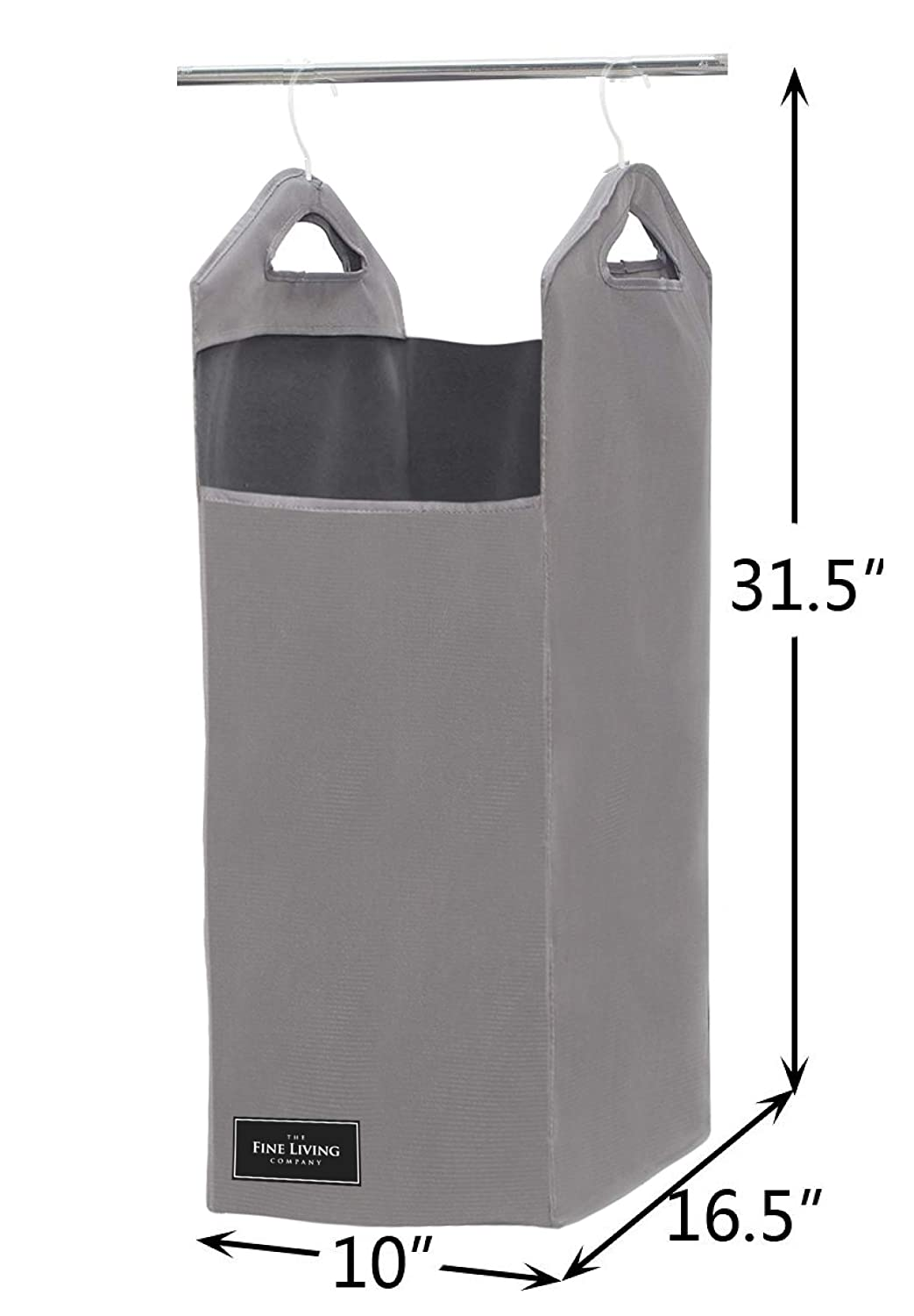 Closet Hanging Laundry Hamper Bag The Fine Living Company USA Included Strong Hangers Open Top Design to Hold More Laundry Than Other Type Bags Space Saving Design in Grey