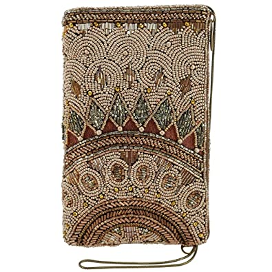 cb9794254 MARY FRANCES Kismet Bronze Beaded-Embroidered Crossbody Phone Bag:  Amazon.co.uk: Shoes & Bags