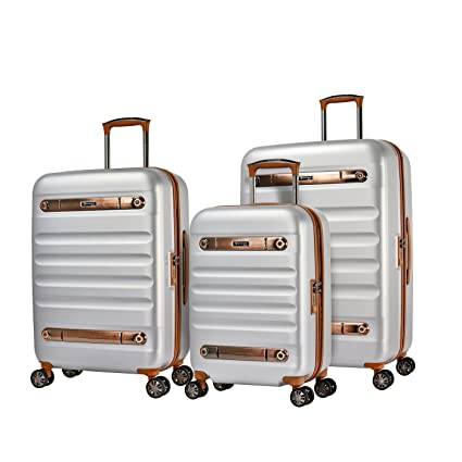 d301af8b3 Eminent Luggage Set Gold Nostalgia 3 pcs Polycarbonate Hard Shell 4 Silent  Dual Wheels TSA Lock Silver: Amazon.co.uk: Luggage