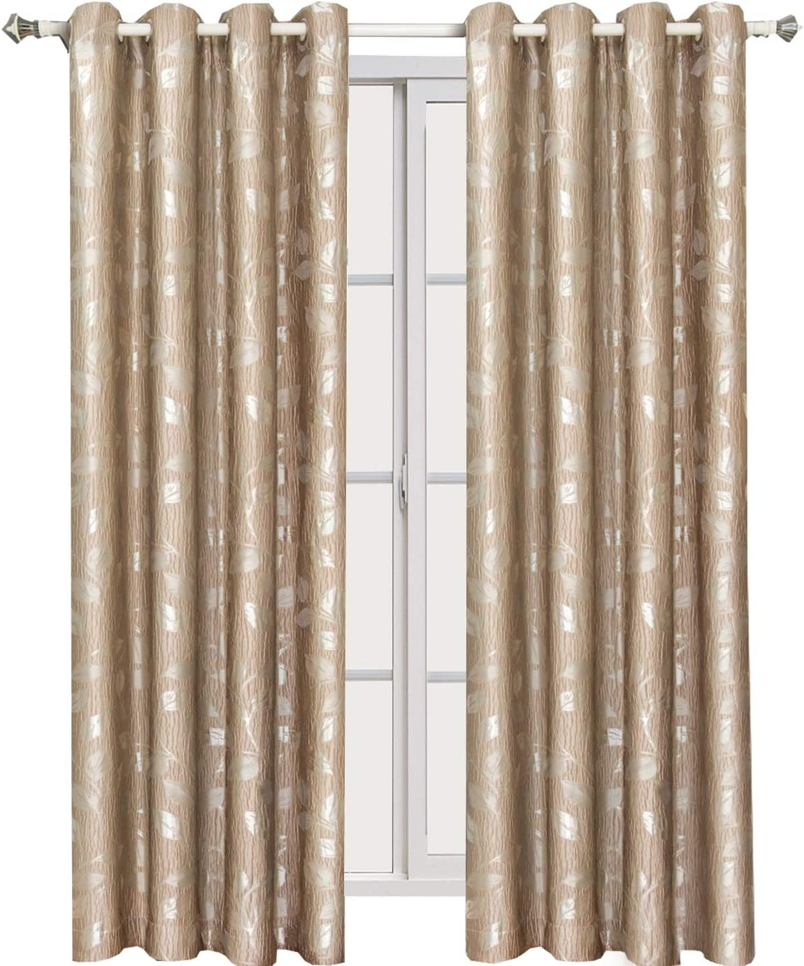 Royal Tradition Charlotte 104-Inch Wide x 108-Inch Long, Jacquard Set of 2 Grommet Top Curtains, Mocha