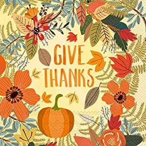 Boston International IHR Cocktail Beverage Paper Napkins, 5 x 5-Inches, Give Thanks Floral