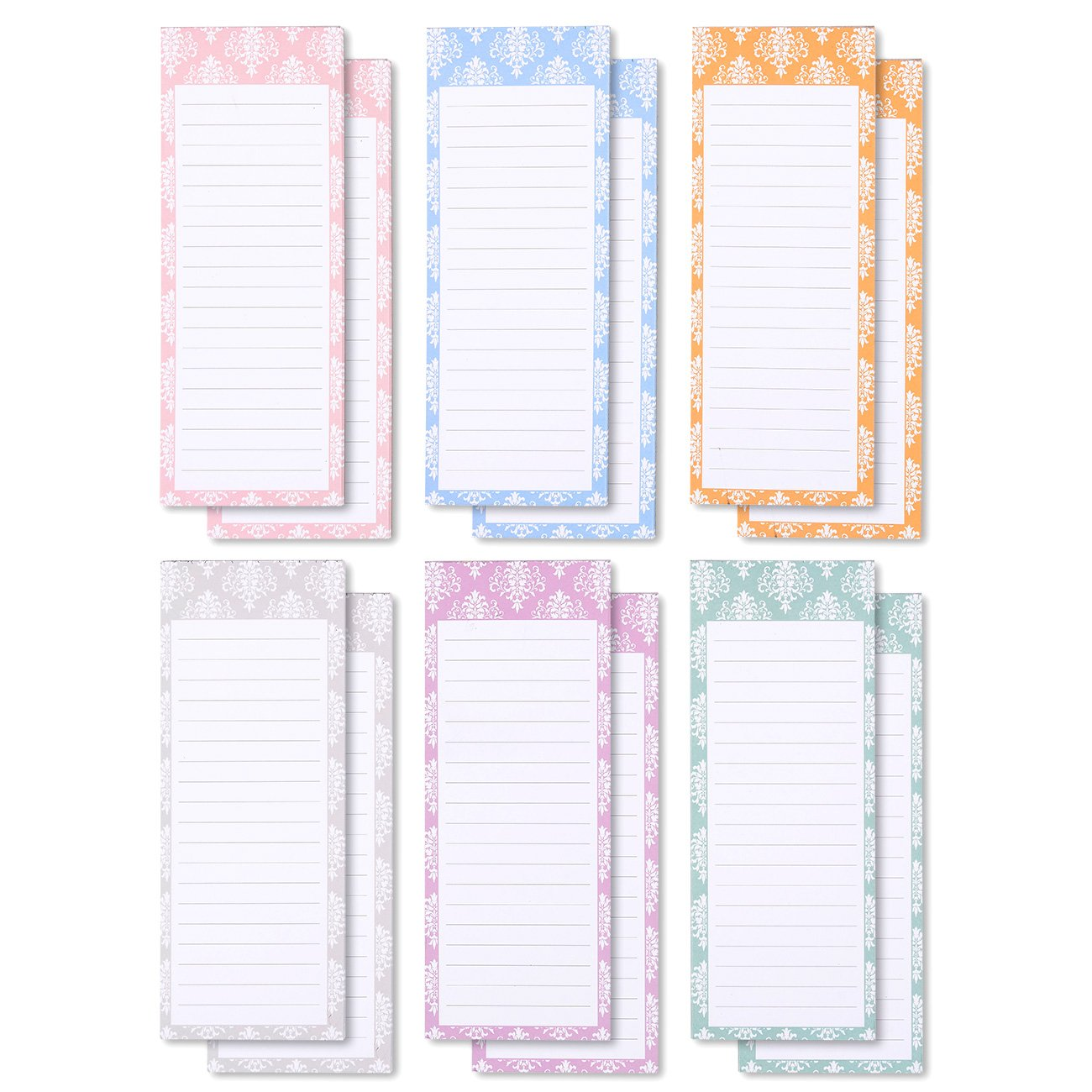 Juvale to-do-List Notepad - 12-Pack Magnetic Notepads, Grocery List Magnet Memo Pad for Shopping, to Do List, Reminders, House Chores, 6 Colors and Designs, 60 Sheets Per Pad, 3.5 x 9 Inches