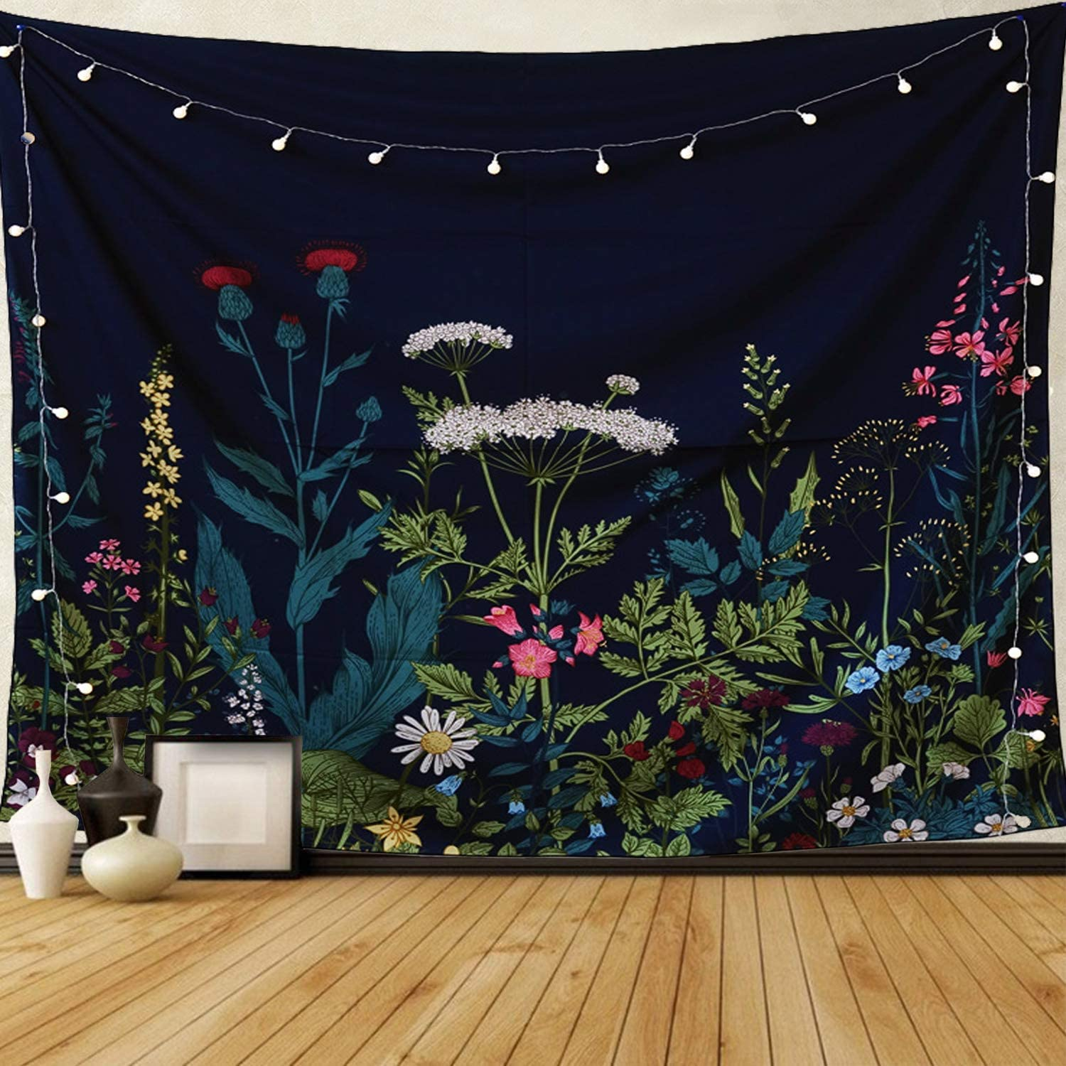 """Dark Blue Tapestry Floral Plants Tapestry Wall Hanging Herbs Tapestry Wild Flowers Wall Tapestry Nature Scenery Tapestry for Bedroom, Dorm. 59""""x51"""""""