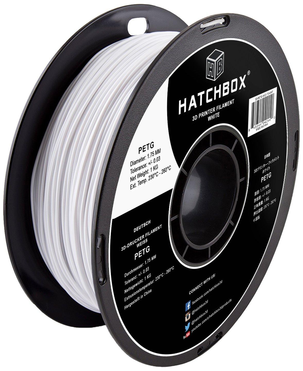 HATCHBOX PETG 3D Printer Filament, Dimensional Accuracy +/- 0.03 mm, 1 kg Spool, 1.75 mm, White